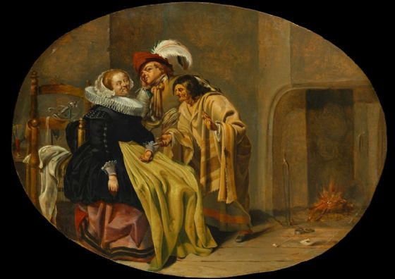 Duck, Jacob: A Couple in an Interior with a Gypsy Fortune-Teller. Fine Art Print/Poster (5259)